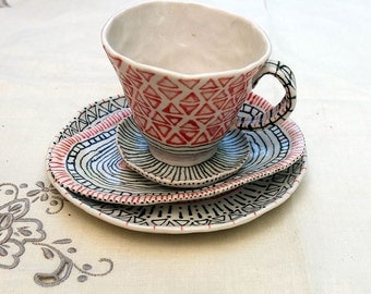 4 Piece Desert Plate Set - Handcrafted Handpainted Porcelain Set by Kathrin Kneidl for Resplendent Home
