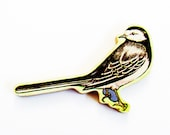 1960s Pied Wagtail Brooch - Pin / Unique Gift Under 50 / Upcycled Vintage Hand Cut Wood Jewelry / Beautiful Bird & Wood Name Pin