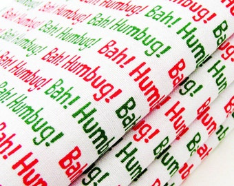 Bah Humbug Cotton Napkins / Set of 4 / Green, Red & White December Charles Dickens Christmas Table Decor / Unique Eco-Friendly Gift Under 50