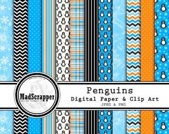 Digital Scrapbook Paper Penguin Paper and Clip Art 12 Patterns 4 Solids 12 x 12 Instant Download