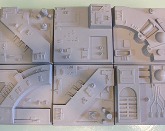 """Star Wars ANH Death Star Tile 9""""x 6""""Grouping Resin   LOT OF 6 - Mix and Match"""