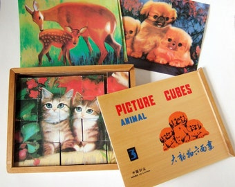 Kitsch Animal Picture Cubes Puzzle - Vintage Wooden Blocks in Wood Box