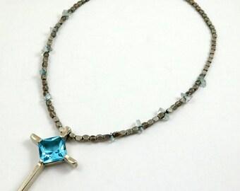 Vintage Blue Crystal Cross Necklace, Silver Tone Crystal Necklace, Blue Topaz Crystal, Large Cross Necklace, Cross Choker, Blue Cross