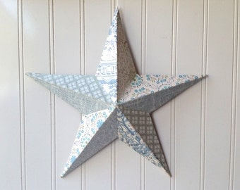 Wall star barn star vintage blue white wallpaper collage metal star 12 inch home decor 3D Cottage Chic