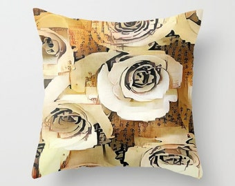 Asian Roses Throw Pillow, Flower Pillow, 16x16, 18x18, 20x20, Decorative Pillow, Text, Calligrahly Japanese Writing, Dorm Pillow, Brown Sand