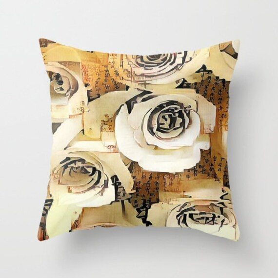 Asian Roses Throw Pillow, Flower Pillow, 16x16, 18x18, 20x20, Decorative Pillow, Text, Calligrahly Japanese Writing, Dorm Pillow, Brown Sand