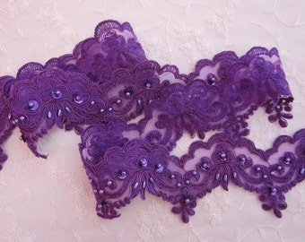 1 YD Purple beaded flower lace trim embellished embroidered organza doll bridal with pearls sequins flowers
