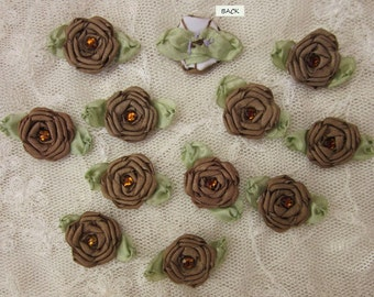 12 pc Set HANDMADE SABLE BROWN Ribbon Rosette Spider Rose Flower w Stone Applique Antique Doll Dog Baby Hair Bow