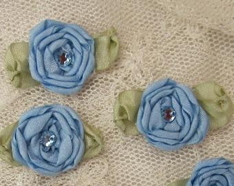 12 pc Set HANDMADE PORCELAIN BLUE Ribbon Rosette Spider Rose Flower w Stone Applique Antique Doll Dog Baby Hair Bow