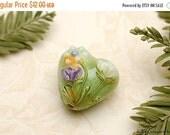 ON SALE 30% OFF Green w/White & Purple Flora Heart Focal Bead - Handmade Glass Lampwork Bead 11819105