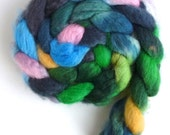 BFL Wool Roving - Hand Painted Spinning or Felting Fiber, Spot of Pink
