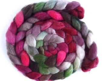 BFL Wool Roving - Hand Painted Spinning or Felting Fiber, Irregular Patchwork