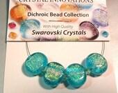 Designer Paula Radke Dichroic Glass beads & Swarovski Crystals  Stock #DC04
