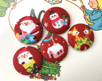 "Handmade Small Red Kawaii Christmas Santa Claus Christmas Fabric Covered Buttons, Frosty, Santa Claus Snowman Christmas Magnets, 1.2"" 5's"