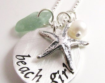 Beach Girl charm necklace - beach necklace - hand stamped necklace - Beach Jewelry - Star Fish - Sea Glass Necklace