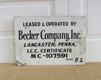 Vintage Metal Sign, Industrial Sign, Black White Sign, Primitive Sign