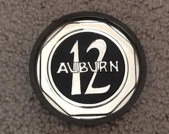 Two Vintage Classic Car Hubcap Coasters Ford Auburn 12 and Packard