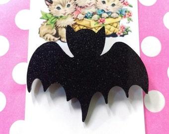 Black Acrylic Glitter Bat Brooch