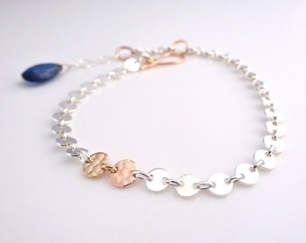 Friendship Bracelet, Handmade with Recycled Sterling Silver and 14k gold, Engraveable chain bracelet, Friendship Jewelry