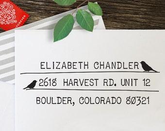 Custom Address Stamp, Calligraphy Stamp, Return Address Stamp, Self Inking Address Stamp - Rubber Stamp - Calligraphy Bird - Wedding - 1013