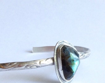 Labradorite Cuff Bracelet - Large Cuff - Boho Luxe Jewelry - Modern Bohemian Jewelry