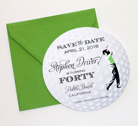 Golf Ball Save the Date Card Golf Invitation Golf Themed – Birthday Save the Date Cards