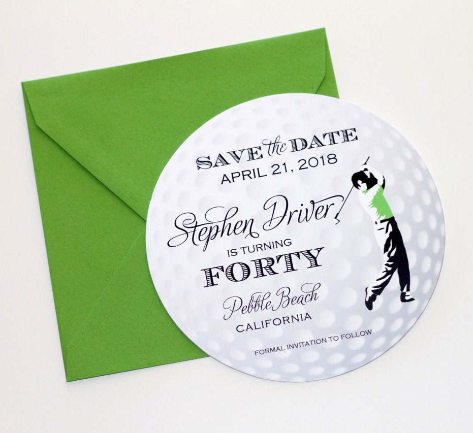 Golf Ball Save the Date Card Golf Invitation Golf Themed