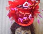 Valentine's Day Hat, Kentucky Derby Hat, Alice in Wonderland Mini Top Hat, Queen of Hearts, Mad Hatter Tea Party, Ascot