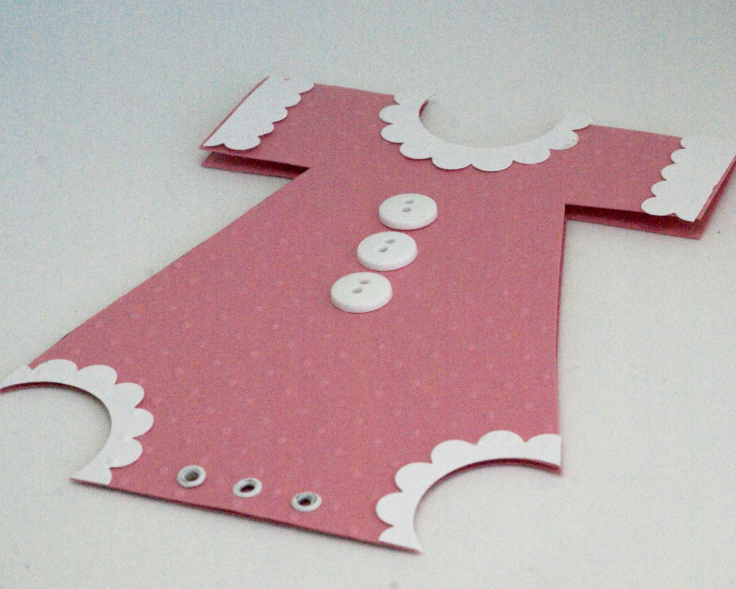 Pink Baby Girl Card Handmade New Baby Onesie Card Birth Gift