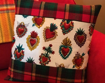 Mexican Sacred Hearts Pillow Cover Red Plaid Flannel