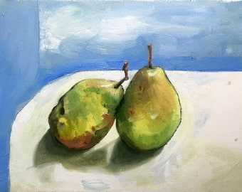 Moonglow Pears, Original oil painting on arches