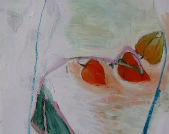 Chinese Lanterns, Original oil painting on archival paper