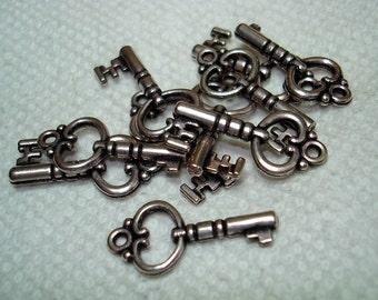 Silver Key Charms (Qty 10) - B3154