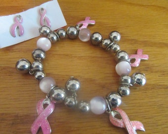 pink ribbon bracelet earrings post