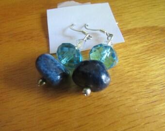 blue glass bead dangle earrings