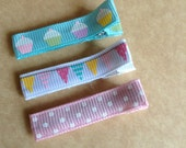 Pastel Cupcakes, Party Banners and Pink Polka Dots Birthday Party Hair Clips/Party Favors