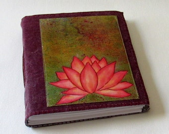 Pink Lotus journal -  waxed burgundy red wine canvas mid size journal