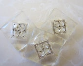 Vintage Buttons - lot of clear Depression glass, medium size square matching novelty cut glass, lot of 3 (nov 23 b)
