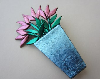 Vase of pink pink tulips bouquet in blue vase pin brooch