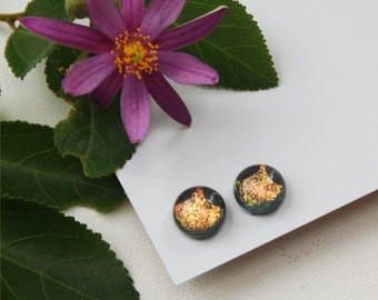 222 Fused dichroic glass earrings, round, sparkle, gold, pastel peach with two bug eyes in black