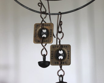 UNITY Series, New York, London, Paris, Roma Earrings, Everyday Vintage Button Earrings, Cheldena Artwear, Button Earrings, Cheldena