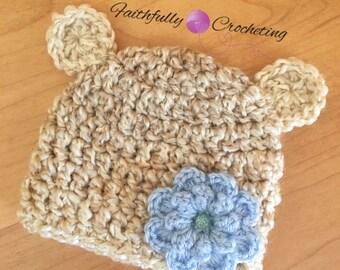 Newborn bear hat.. Blue crocheted flower.. Photography prop.. Ready to ship