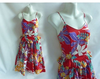 Vintage 70s Dress Size S Red Hawaiian Disco Cotton Strappy Sun 80s Red Floral