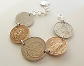Vintage Coin Bracelet - Coin Jewelry - Personalized Jewelry - Under 25 Dollars