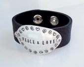 PEACE and LOVE Stamped Spoon Leather Cuff - Silverware Jewelry