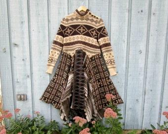 M-L Fair Isle Reconstructed Sweater Dress// Prairie Folk Bohemian// Winter// emmevielle