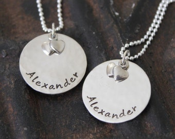 Sweetheart Sterling Silver Hand Stamped Name Tag Necklace with Heart