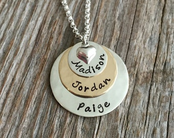 Gold Burst --2 Metal 3 Stack Hand Stamped Name Tag Necklace --Sterling Silver and Gold Filled discs with small puffy heart