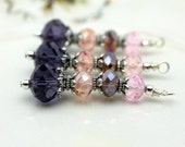 Vintge Style Purple Peach and Pink Crystal Large Long Pendant, Dangle, Earring, Jewelry Pendant, Necklace Pendant
