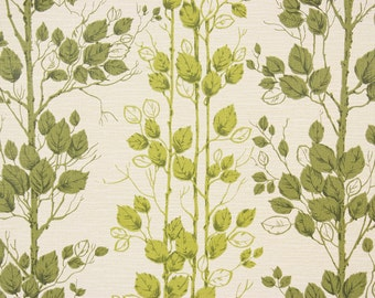 1970s Retro Vintage Wallpaper Green Leaves and Vines Vinyl by the Yard